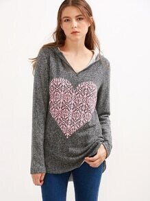 Grey Heart Print Hooded Sweatshirt