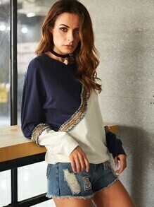 Color Block Sweatshirt With Embroidered Tape Detail