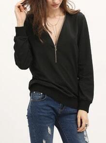 Sweat-shirt couleur unie col V zippé -noir