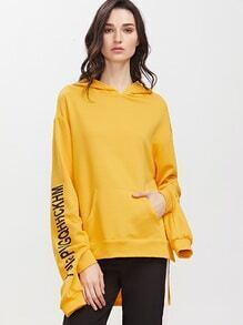Sweat à capuche imprimé lettre asymétrique avec poche -jaune