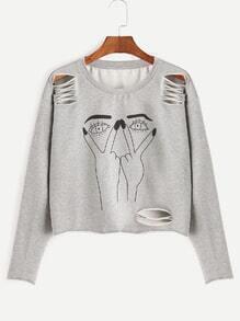 Sweat-shirt imprimé cartoon déchiré court -gris bruyère