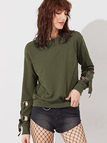Sweat-shirt à l'épaule laissé oeillet à lacets sur manches -vert olive
