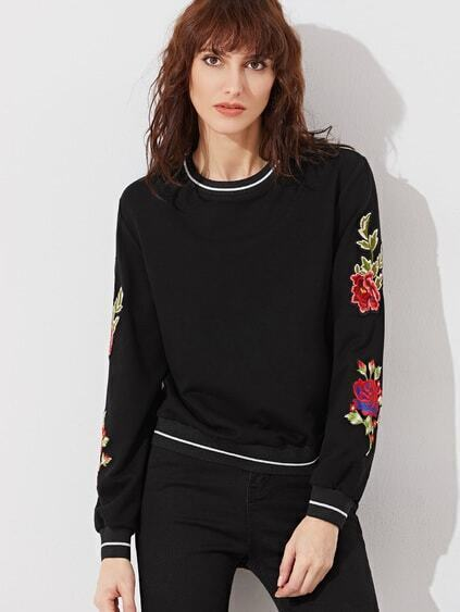 Black Striped Trim Embroidered Flower Applique Sweatshirt