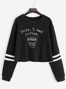 Sweat-shirt imprimé à rayure élancé court -noir