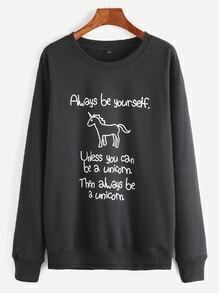 Sweat-shirt imprimé licorne et slogan -noir