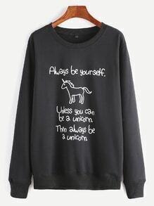 Black Unicorn And Slogan Print Sweatshirt