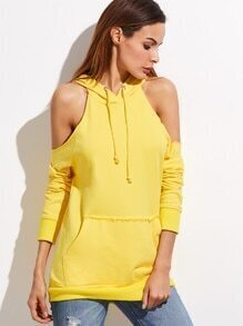Yellow Cold Shoulder Pocket Front Hoodie