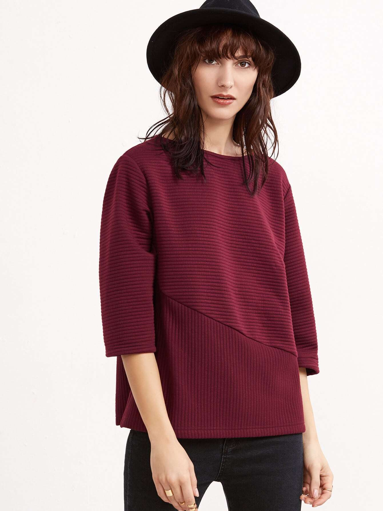 Burgundy 3/4 Sleeve Cut And Sew Ribbed Sweatshirt