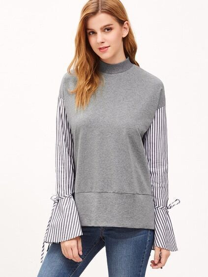 Heather Grey Drop Shoulder Striped Bell Sleeve Sweatshirt