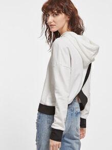 Kapuzensweatshirtz Drop Schulter Kontrast Saum gespalten Hinten-weiß