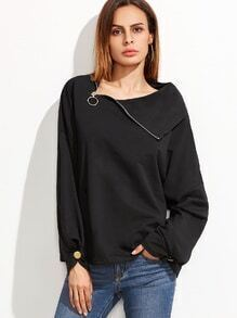 Black Zip Slit Collar Drop Shoulder Buttoned Cuff Sweatshirt