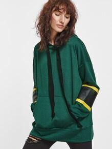 Sudadera extragrande con capucha y hombro caído - verde