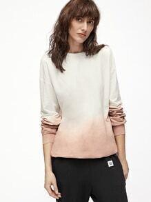 Sweat-shirt ombre à l'épaule laissé -rose