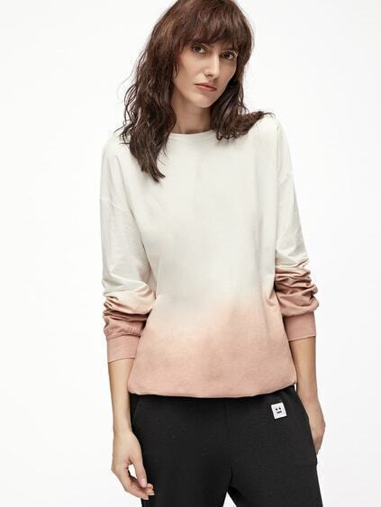 Pink Ombre Drop Shoulder Sweatshirt