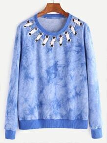 Buy Blue Tie Dye Print Eyelet Whipstitch Neck Sweatshirt