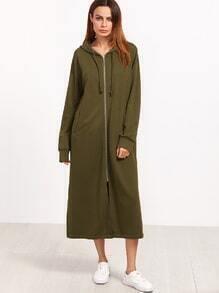 Sudadera larga con capucha y estampado de letras - verde militar