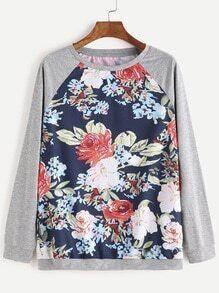 Sweatshirt Blumen Druck Raglan Ärmel-bunt