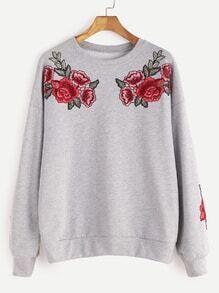 Sweat-shirt à l'épaule laissé brodé rose -gris bruyère