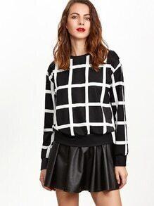 Sweat-shirt réseau à l'épaule laissé -blanc et noir