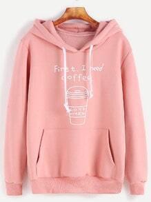Kapuzensweatshirt mit Taschen Tunnelzug Druck-rosa