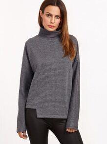 Sweat-shirt à nervures tricoté à col haut à l'épaule laissé asymétrique -gris