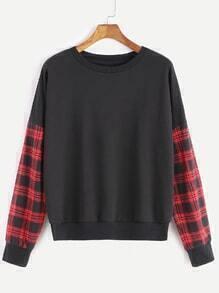 Sweat-shirt à l'épaule laissé écossais sur manche -noir