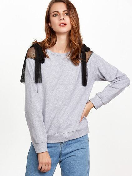 Heather Grey Bow Tie Dotted Mesh Shoulder Sweatshirt