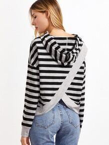 Sudadera a rayas con capucha y abertura en espalda - negro y gris