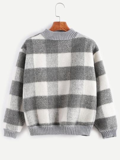 Контрастный клетчатый пуловер