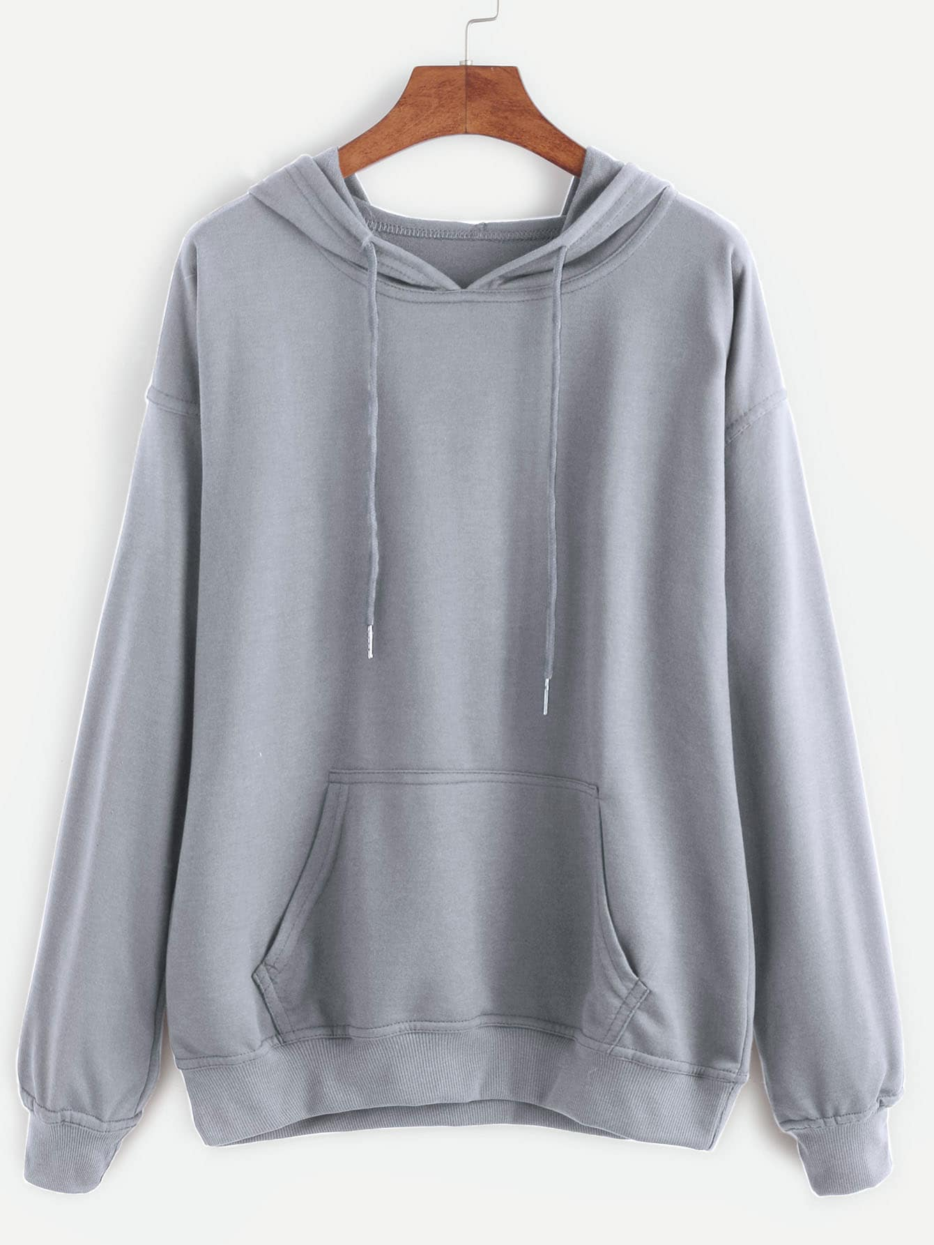 Grey Drawstring Hooded Pocket Sweatshirt