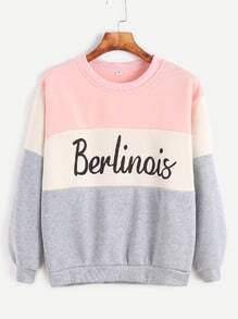 Sweat-shirt imprimé lettre -color-block