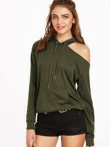 Sweat-shirt à l'épaules coupé avec poche devant -vert olive