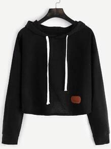 Black Hooded Drop Shoulder Patch Crop Sweatshirt