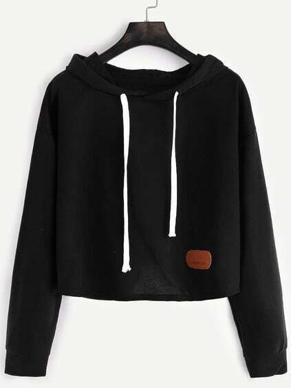 Black Hooded Drop Shoulder Patch Crop Sweatshirt