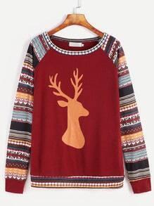 Sweat-shirt imprimé Noël manche raglan -bordeaux rouge