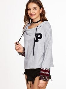 Heather Grey Embroidered Cuff Hoodie With Letter Patch