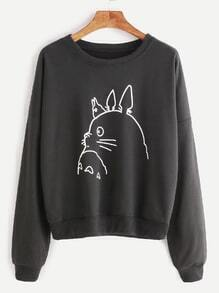 Black Drop Shoulder Cartoon Print Sweatshirt
