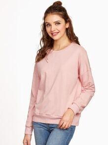 Sweatshirt Fledemaus Ärmel gespalten Hinten-rosa