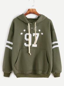 Sweat-shirt à capuche imprimé -vert d'armée