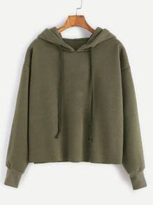 Army Green Hooded Raw Hem Sweatshirt