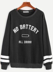 Sweat-shirt à rayures et imprimé lettre -noir
