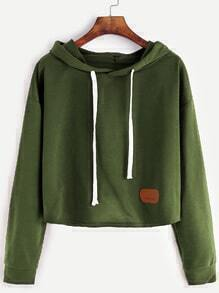 Army Green Hooded Patch Crop Sweatshirt