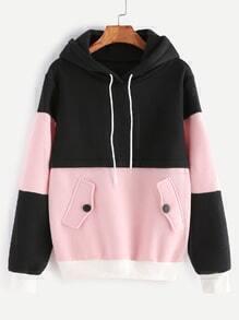 Color Block Drawstring Hooded Sweatshirt