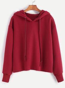 Sweat-shirt à capuche cordon -bordeaux rouge