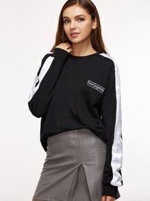 Sweat-shirt manche à rayure avec broderie - noir