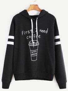 Black Coffee Print Striped Sleeve Hoodie