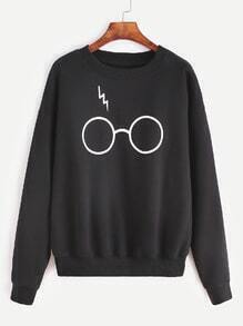 Black Glasses Print Drop Shoulder Sweatshirt