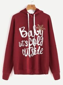 Burgundy Letter Print Drop Shoulder Hoodie