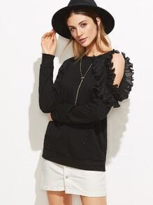 Black Frilled Asymmetric Cold Shoulder Sweatshirt With Rhinestone Detail