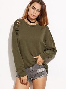 Buy Olive Green Drop Shoulder Cutout Back Distressed Sweatshirt